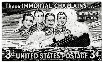 Painting - 1948 Immortal Chaplains Stamp by Historic Image