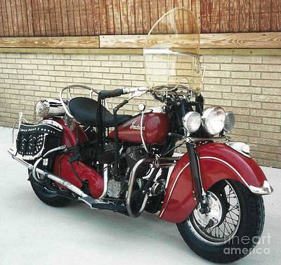 Photograph - 1948 Indian Chief Roadmaster - Barn Red by Classic Spokes And Strings