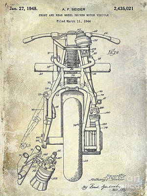 1948 Indian Motorcycle Patent Drawing Art Print by Jon Neidert
