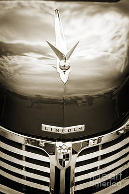 Photograph - 1948 Lincoln Continental Car Or Automobile Emblem In Sepia  3156 by M K Miller