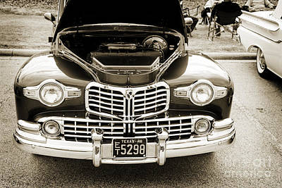 Photograph - 1948 Lincoln Continental Car Or Automobile Front End In Sepia  3 by M K Miller