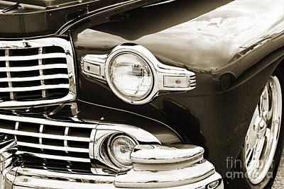Photograph - 1948 Lincoln Continental Car Or Automobile Front Fender In Sepia by M K Miller