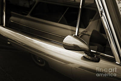 Photograph - 1948 Lincoln Continental Car Or Automobile Mirror In Sepia  3151 by M K Miller