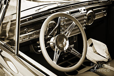 Photograph - 1948 Lincoln Continental Car Or Interior In Sepia  3159.01 by M K Miller