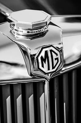 Photograph - 1948 Mg Tc Hood Ornament -767bw by Jill Reger