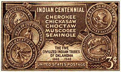 Centennial Painting - 1948 Oklahoma Indian Centennial Stamp  by Historic Image