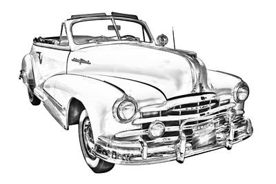 Photograph - 1948 Pontiac Silver Streak Convertible Illustration by Keith Webber Jr
