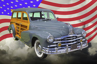Photograph - 1948 Pontiac Silver Streak Woody And American Flag by Keith Webber Jr
