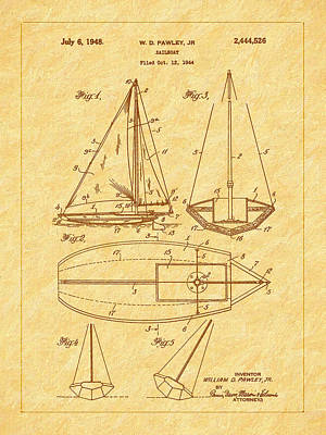 1948 Sailboat Patent Art Art Print by Barry Jones