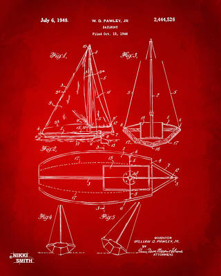 1948 Sailboat Patent Artwork - Red Art Print by Nikki Marie Smith