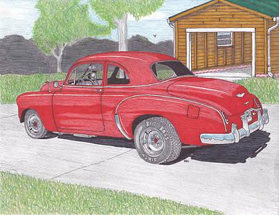 Street Rod Drawing - 1949 Chevy by Darrell Leonard