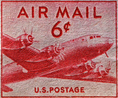 1949 Dc-4 Skymaster Air Mail Stamp Art Print by Bill Owen