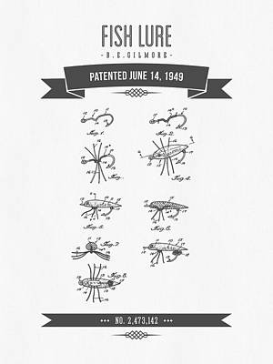 1949 Fish Lure Patent Drawing - Retro Gray Art Print by Aged Pixel