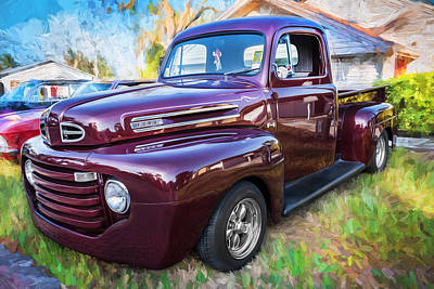 Antique Ford Truck Grill Photograph - 1949 Ford Pick Up Truck F1 Painted  by Rich Franco
