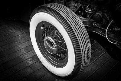 Wire Wheels Photograph - 1949 Ford Pick Up Truck Wheel Bw by Rich Franco