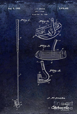 1949 Golf Putter Patent Drawing Blue Art Print