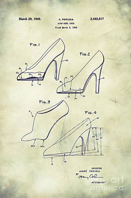 Shoe Digital Art - 1949 High Heel Shoes Patent Andre Perugia 1 by Nishanth Gopinathan
