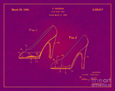 1949 Digital Art - 1949 High Heel Shoes Patent Andre Perugia 11 by Nishanth Gopinathan