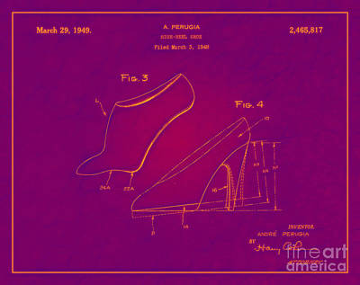 1949 Digital Art - 1949 High Heel Shoes Patent Andre Perugia 12 by Nishanth Gopinathan