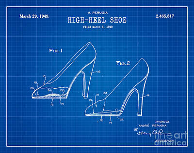 1949 Digital Art - 1949 High Heel Shoes Patent Andre Perugia 13 by Nishanth Gopinathan