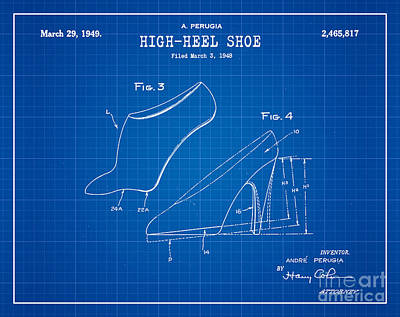 1949 Digital Art - 1949 High Heel Shoes Patent Andre Perugia 14 by Nishanth Gopinathan