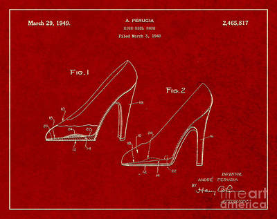1949 Digital Art - 1949 High Heel Shoes Patent Andre Perugia 2 by Nishanth Gopinathan