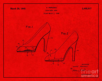 1949 Digital Art - 1949 High Heel Shoes Patent Andre Perugia 4 by Nishanth Gopinathan