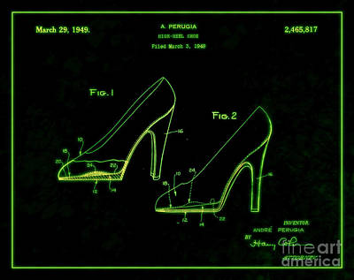 1949 Digital Art - 1949 High Heel Shoes Patent Andre Perugia 6 by Nishanth Gopinathan
