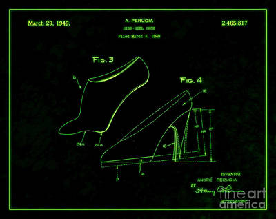 1949 Digital Art - 1949 High Heel Shoes Patent Andre Perugia 7 by Nishanth Gopinathan