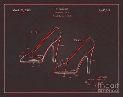 1949 Digital Art - 1949 High Heel Shoes Patent Andre Perugia 8 by Nishanth Gopinathan