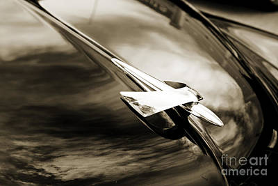 Photograph - 1949 Mercury Classic Car Hood Ornament In Sepia 3191.01 by M K Miller