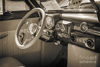 1949 Mercury Coupe Interior In Sepia 3040.01 Print by M K  Miller