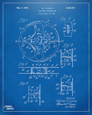 Reel Digital Art - 1949 Movie Film Reel Patent Artwork - Blueprint by Nikki Marie Smith