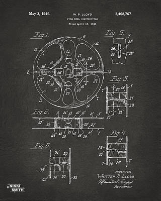 Reel Digital Art - 1949 Movie Film Reel Patent Artwork - Gray by Nikki Marie Smith