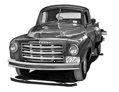 Nash Metropolitan Wall Art - Drawing - 1949 Studebaker Pick Up Truck by Jack Pumphrey