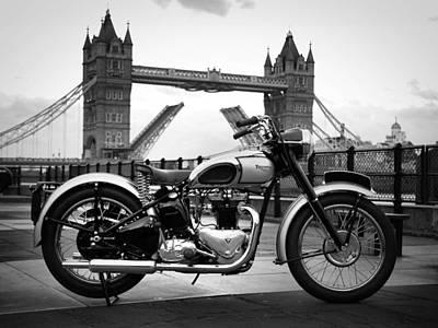 London Skyline Photograph - 1949 Triumph T100 by Mark Rogan