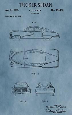 1949 Digital Art - 1949 Tucker Sedan Patent Blue by Dan Sproul