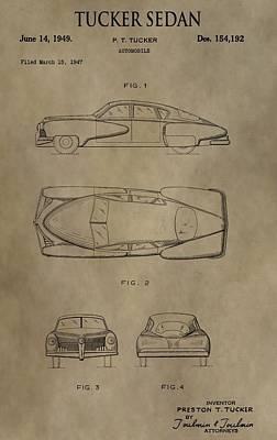 1949 Digital Art - 1949 Tucker Sedan Patent by Dan Sproul