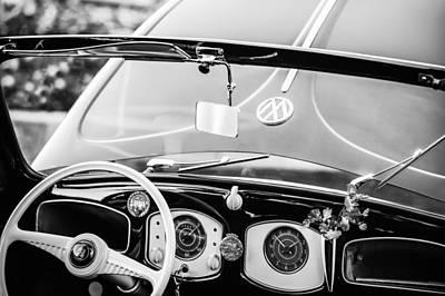 Photograph - 1949 Volkswagen Vw Hebmuller Cabriolet Steering Wheel -1207bw by Jill Reger