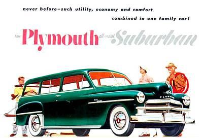 Chrysler Airflow Digital Art - 1950 - Plymouth Suburban Station Wagon Automobile Advertisement - Color by John Madison