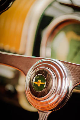 Photograph - 1950 Alfa Romeo 6c 2500 Ss Touring Coupe Steering Wheel Emblem -1642c by Jill Reger