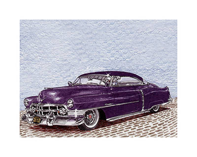 Low Rider Painting - Low Rider Chopped 1950 Cadillac Coupe De Ville by Jack Pumphrey