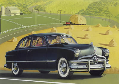 1950 Custom Ford Blank Greeting Card Original by Walt Curlee