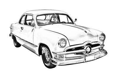 American Cars Photograph - 1950  Ford Custom Antique Car Illustration by Keith Webber Jr