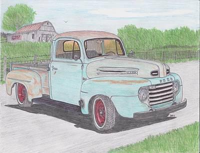 Street Rod Drawing - 1950 Ford F-1 Truck by Darrell Leonard