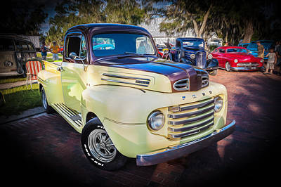 Antique Ford Truck Grill Photograph - 1950 Ford Pick Up Truck F100  by Rich Franco