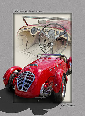 Digital Composite Digital Art - 1950 Healey Silverstone by Roger Beltz