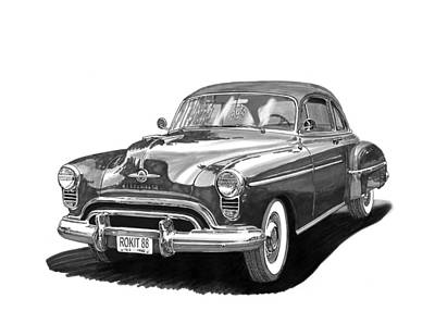 Landmarks Drawing - Oldsmobile Rocket 88 by Jack Pumphrey