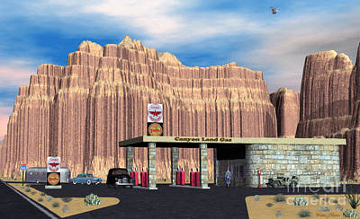 Digital Art - 1950 Route 66 Gas Station by Walter Colvin