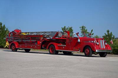 Photograph - 1950 Seagrave 85 Foot Tittered Aerial Fire Truck by Tim McCullough